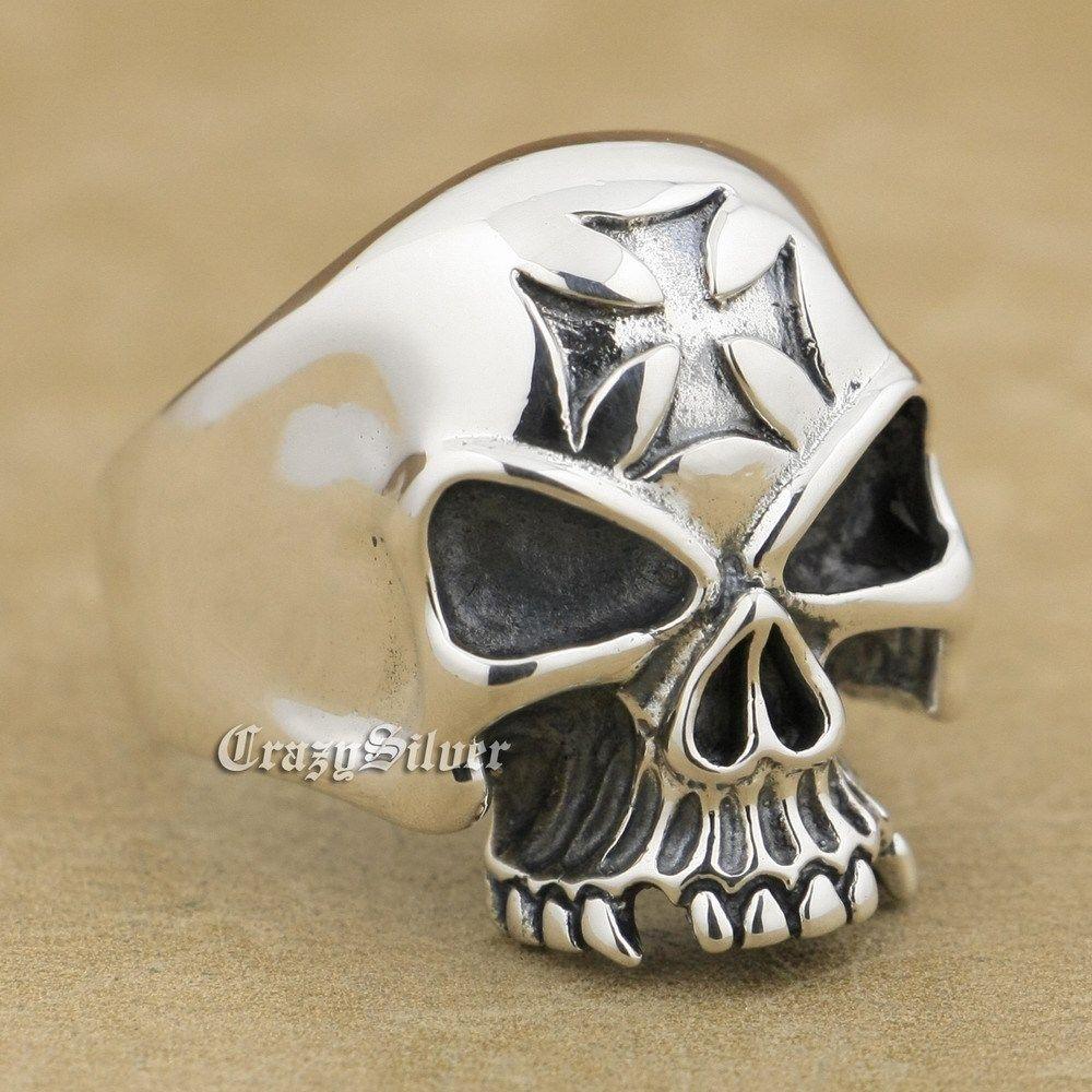 925 Sterling Silver Skull Cross Mens Biker Rocker Punk Ring 9Q023 US Size 8 to 14 r003 skull shaped titanium steel ring black silver us size 8
