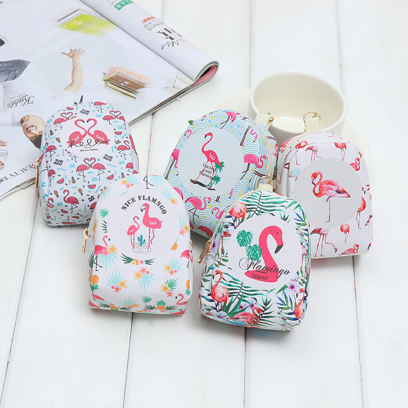 Cartoon Flamingo Pattern Portable Bag Mini Cute Coin Bag Multifunction Key Ring Small Pendant Students Stationery Holder Bag 1PC