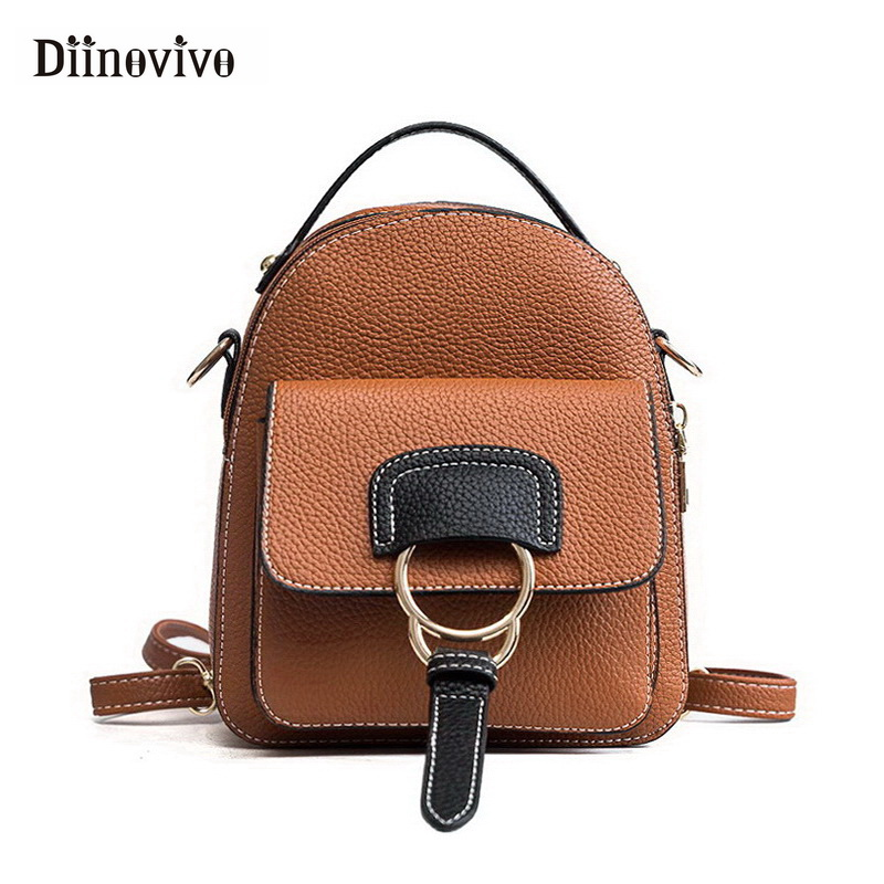 DIINOVIVO Women Leather Backpack Children Backpack Mini Cute Back Pack Backpacks for Teenage Girls Small Shoulder Bags WHDV0602