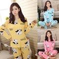 Lindo Otoño Ocasional de Las Mujeres ropa de Dormir Conjunto de Dibujos Animados Homewear Pijamas Leisurewear