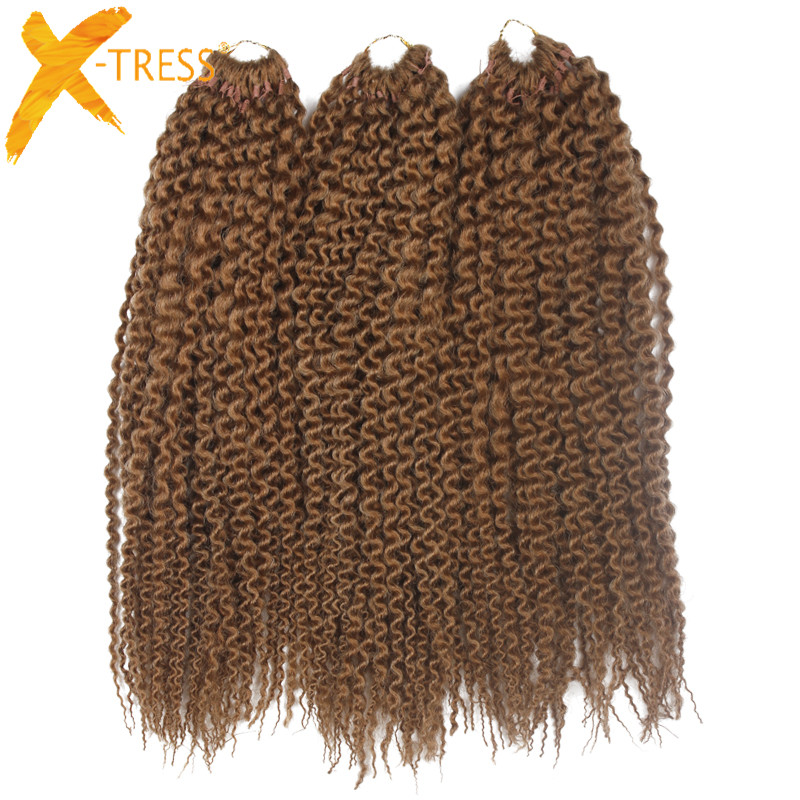 "X-TRESS Freetress Low Temperature Fiber 3Pcs/Pack 16"" Pre Loop Island Twist Crochet Braids Synthetic Braiding Hair Extensions"
