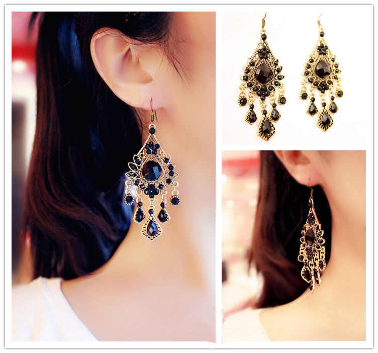 SHUANGR 2016 Retro Gold Color Bohemia Black Resin Beads Royal Vintage Drop Earrings For Women Lady Dangle Jewelry Bijouterie