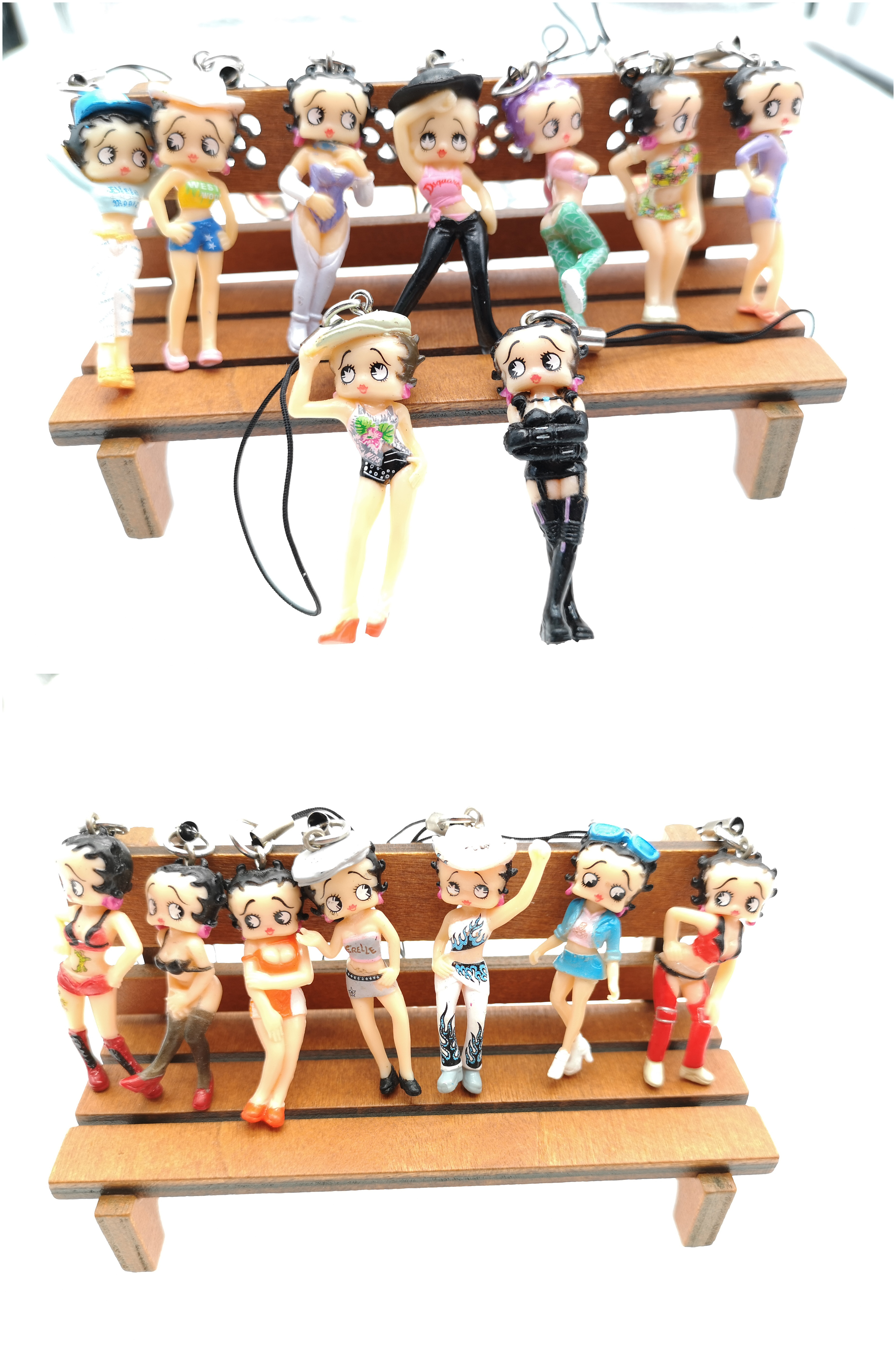 Free Shipping 1 Set 16 Pcs Sexy Color Betty Boop Mixed DIY Figures Mobile Phone Strap Charms Women Kids Gifts