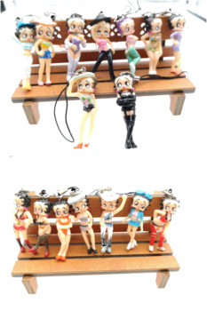 Free shipping 1 set 16 pcs sexy color Betty mixed DIY figures mobile phone strap Charms women kids gifts