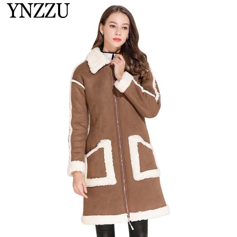 2019 Faux shearling sheepskin Women coats Autumn winter Thick warm Patchwork lambswool outerwear Long motorcycle jackets YO856