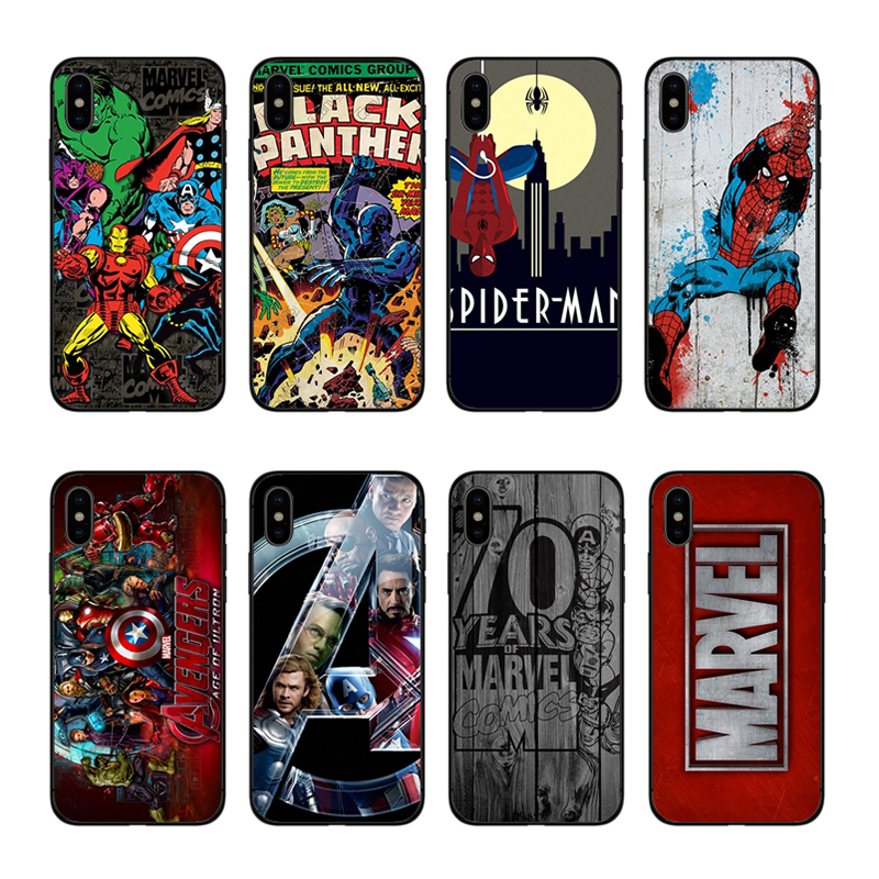 Kuliai Marvel Comics Novelty Fundas Phone Case Cover for iPhone 8 7 6 6S Plus X XS XR XSmax 7plus 8plus Cover