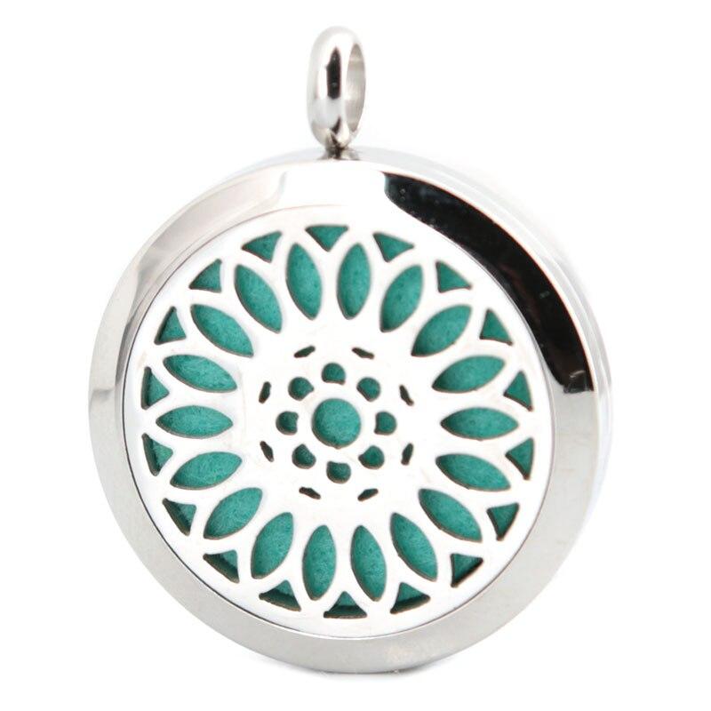 10ks kulaté silve slunečnice 30 mm aromaterapeutické oleje z nerezové oceli parfém difuzor kapesní náhrdelník s volným řetězem a polštářky