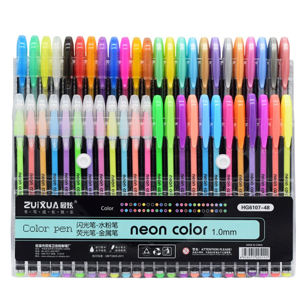 48 Colors Gel Glitter Pen Neon Color Ink 1.0mm Kids Drawing Kawaii Pens For School Pen Writing Tools Cute Stationery