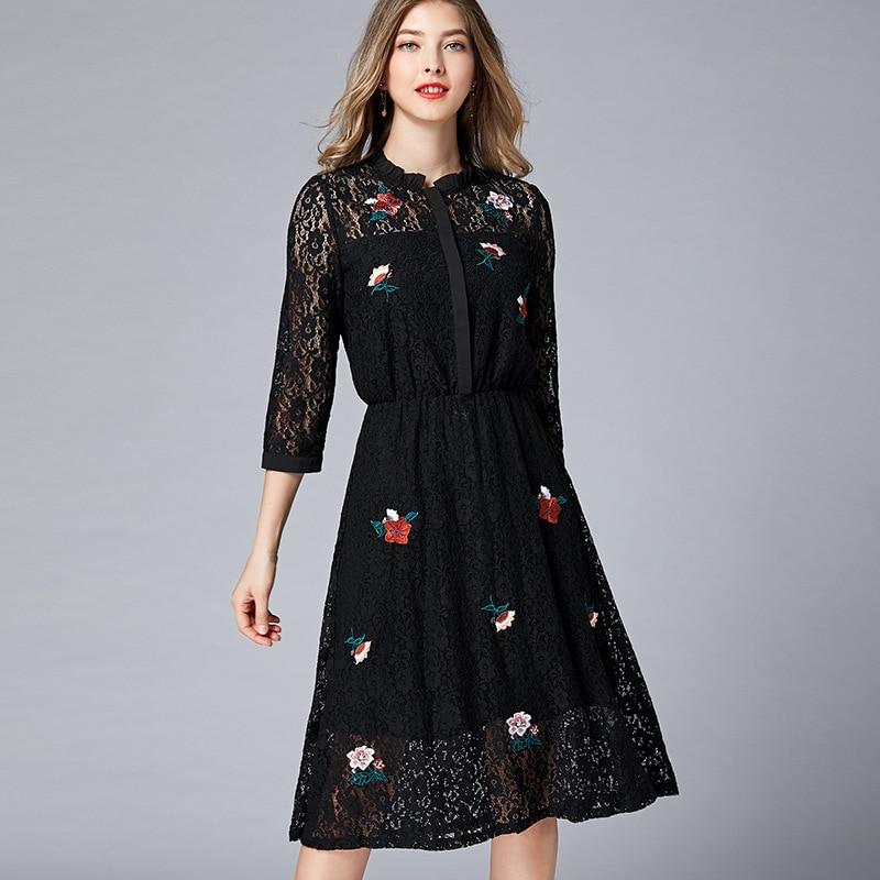 Плюс размеры кружевная Цветочная вышивка лук пояса миди платье для женщин Элегантный Винтаж милые пикантные офисные вечерние пляжное весе...