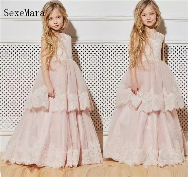 Pink Flower Girl Dresses Princess A Line Sleeveless Lace Up Back O Neck Kids Toddler First Communion Dress Custom Made ems dhl free shipping toddler little girl s 2017 princess ruffles layers sleeveless lace dress summer style suspender