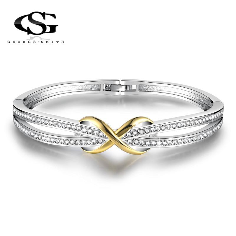 GS Elegant Ladies Jewelry Crystals From Swarovski Charms Bracelets For Women Charm Crystal Bracelet Man Gold Anniversary Gift G5 все цены