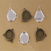 20pcs triangle Bezel Setting Cabochon Base 12mm Cameo Tray Pendant Blanks