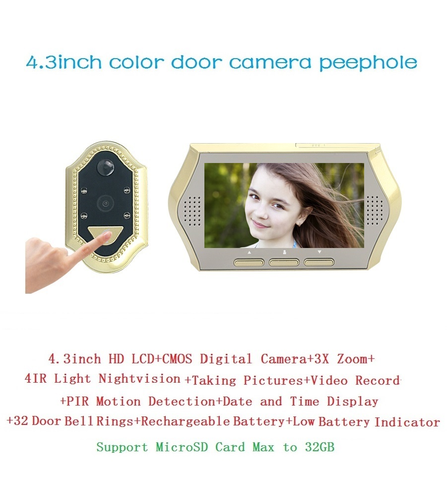 ФОТО 2017 wireless video door peephole 4.3 inch LCD 0.3M pixels camera IR Night vision 3X Zoom 32 Rings PIR motion detection Max 32G