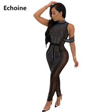 Women Sexy Sheer Mesh Sequin Diamond Jumpsuit Bodycon Clubwear Outfit Transparent Plus Size Romper Female Party Overall