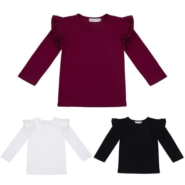 Camiseta básica de chico y niña para bebé, jersey de manga larga con volantes, camisetas, blusa de otoño, camisetas, ropa de bebé 18M-6Y