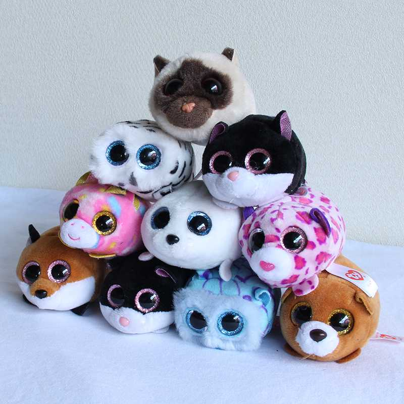 10CM Mini GXHMY Original Ty Beanie Boos Big Eyes penguin Pocket TSUM Candy dog Stuffed Plush Toy Doll Pink Owl TY Baby Kids Gift