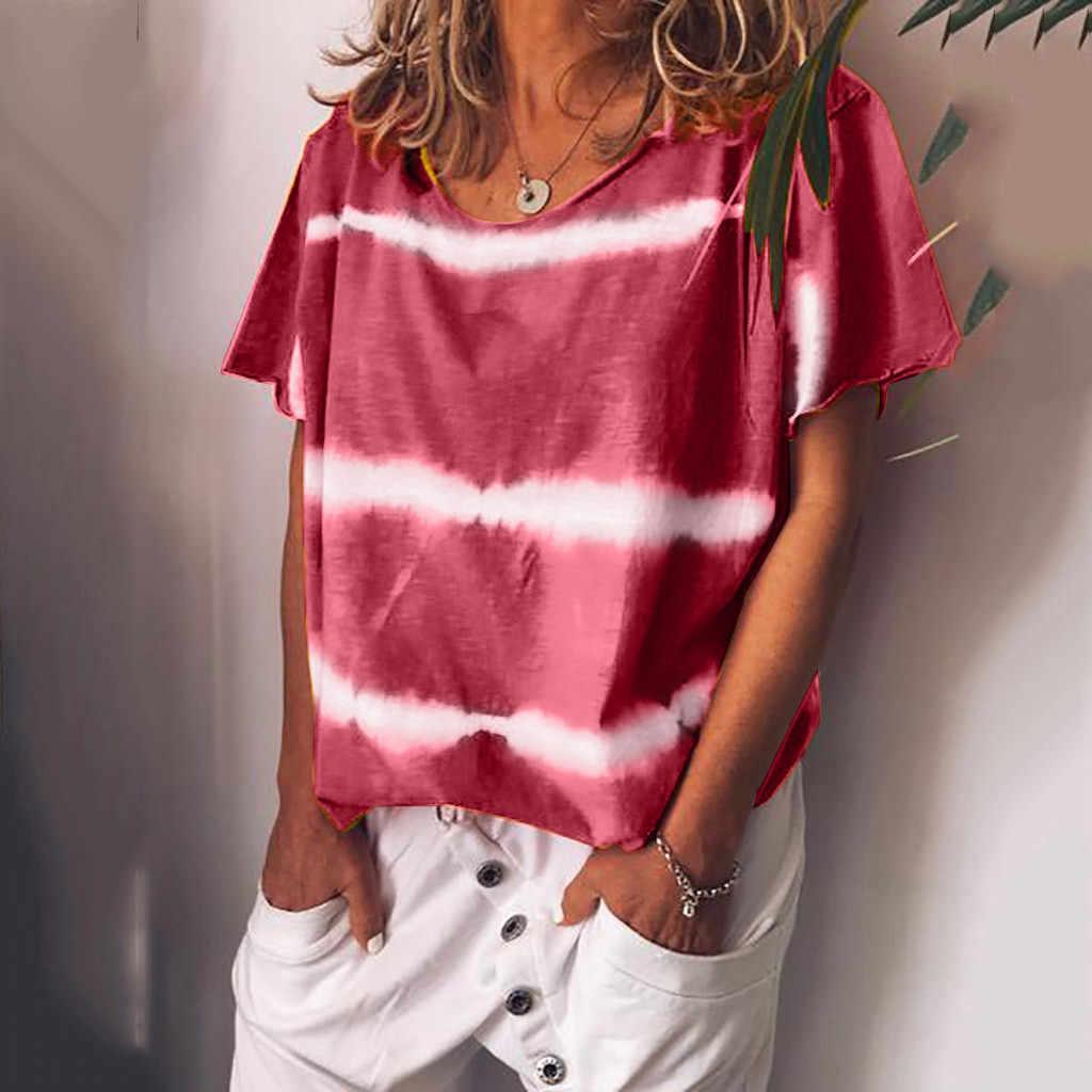 女性のシャツ女性プラスサイズ唇プリントストライプ半袖 O ネックシフォンブラウストップスローブフェムセクシー