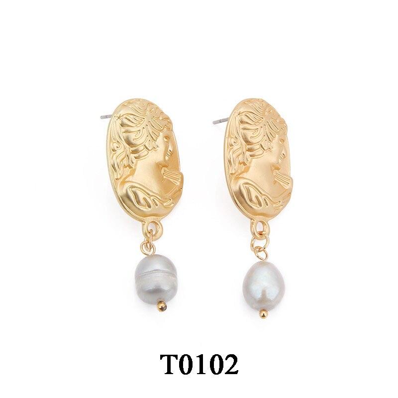 T0102A,复古淡水珍珠耳环,大约1.7X4.1cm,椭圆印章灰