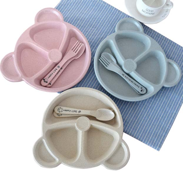 Cute Cartoon Tableware Dish Set With Spoon Fork Eatting Dinnerware Fruit Meat Bread Training Dishes Kitchen Tool