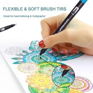 Image 4 - 듀얼 팁 브러쉬 펜 60 독특한 색상 레터링 펜 마커 브러쉬 Fineliner 팁 색칠 예술에 완벽한 Doodling Hand Lettering