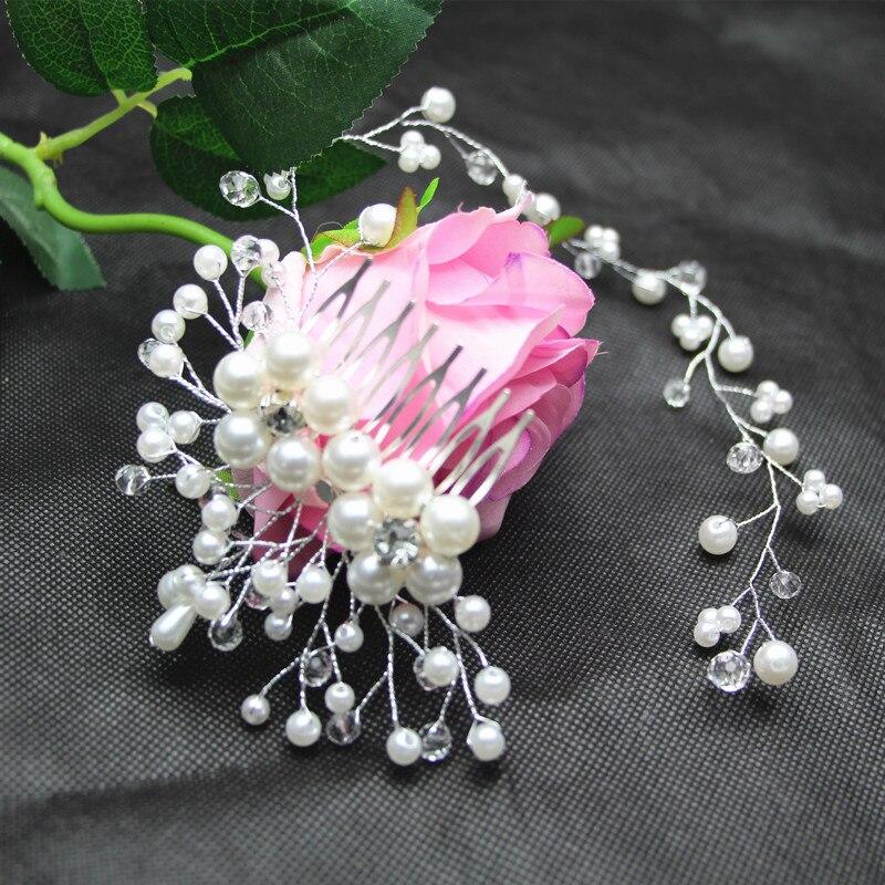 MissXiang New Hair Accessories For Women Luxury Pearl tiara de novia Hairband Wedding Bride Tiaras Length Headband Hair Jewelry
