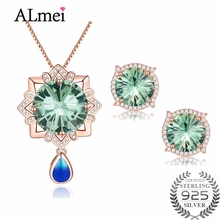 Almei Rose Gold Color AAAA Peacock Green Austrian CZ Crystal Jewelry Set Include Necklace + Eearrings for Women with A Box CT010