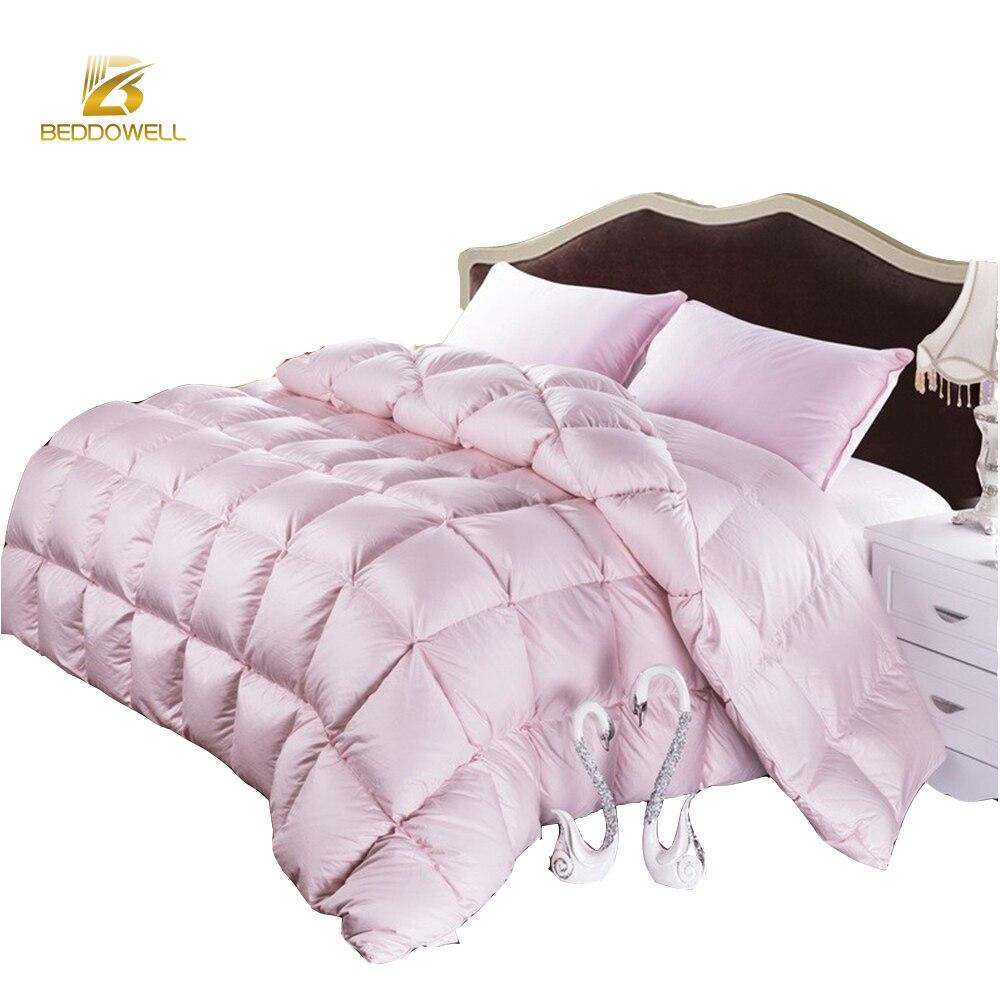Duvet d'oie D'hiver Couettes France Style Canard Oie Couette Couverture Solide Rose Blanc Couleur Double Lit King Size Couettes Chaudes