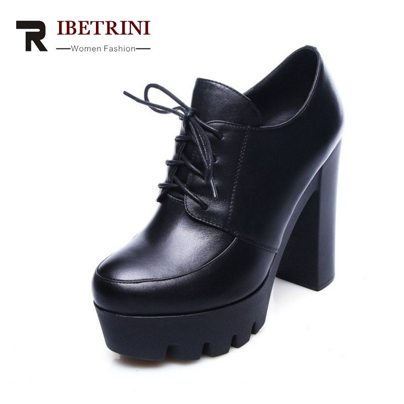 ФОТО RIBETRINI New Arrivals Thick Platform Women Pumps British Style Lace Up Super High Heels Party Shoes Woman For Spring