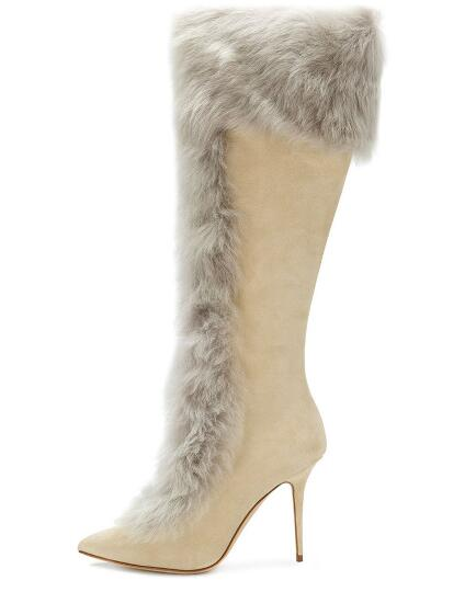 Winter New Brand Women Beige Brown Rabbit Fur Pointed Toe Stiletto Heel Knee High Long Slim Zip Boots Plus Size Lady Boots Shoes стоимость