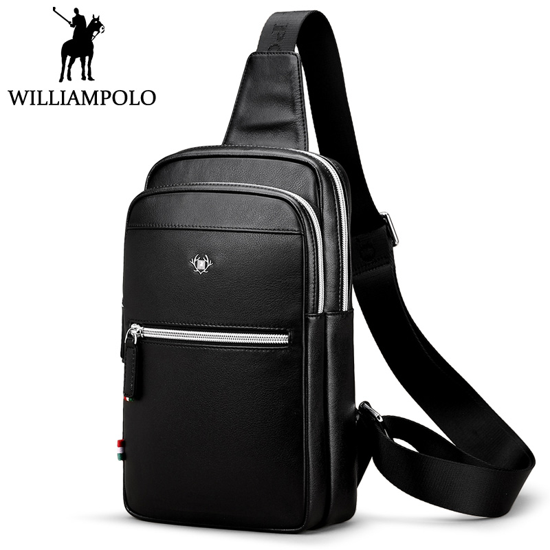 WilliamPolo Men's Chest Bag Genuine Leather Crossbody Bag With Earphone Hole Fashion Design Black Bags For Male Boyfriend Gift цена и фото
