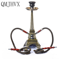 Paris Tower Hookah Double Tube Set Hookah Shisha Narguile Charcoal Tigela Hookah Base tuyau chicha Sisha accessories Party Gifts