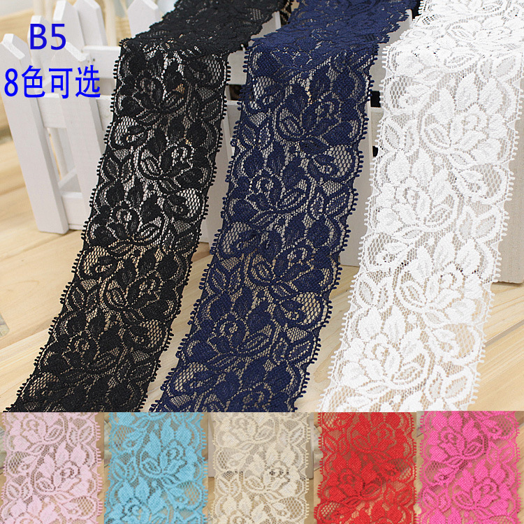 6.5cm Soft Elegant Elastic Lace Trim Fabric Ribbons Tape DIY Sewing Garment Wedding Decoration Accessories White Lace Trimming