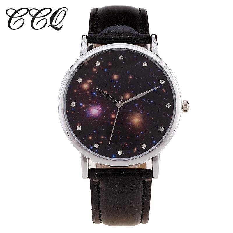 e0e0ad38df4 Ccq marca 2017 nova moda céu estrelado relógio ocasional pulseira de couro mulheres  relógios de quartzo relógio de pulso relogio feminino c26
