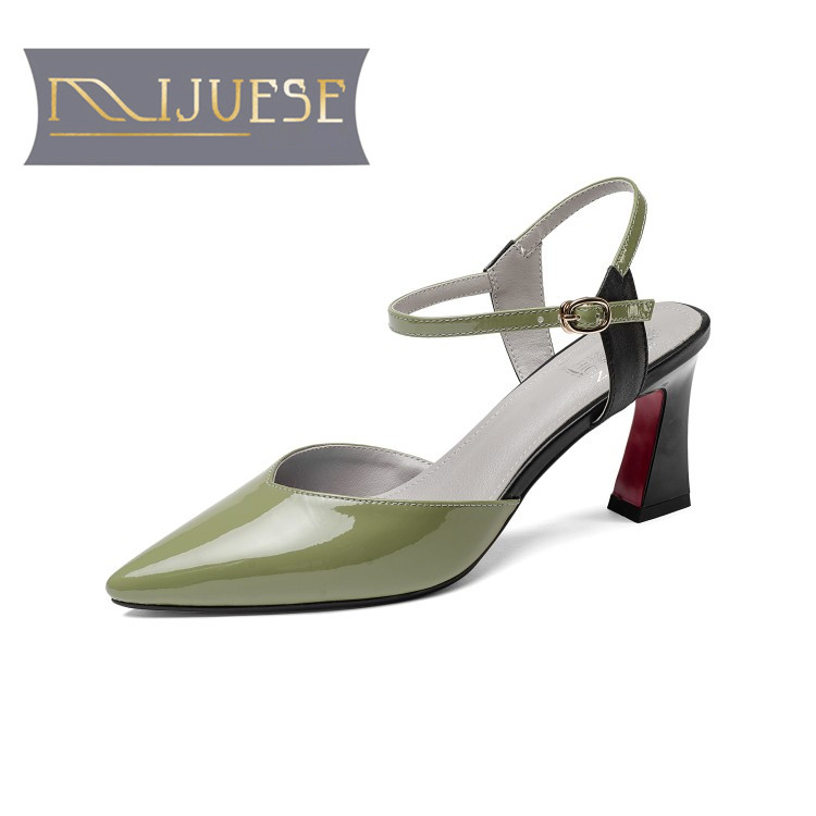 MLJUESE 2018 women sandals Genuine leather buckle strap Green color Gladiator pointed toe high heels pumps