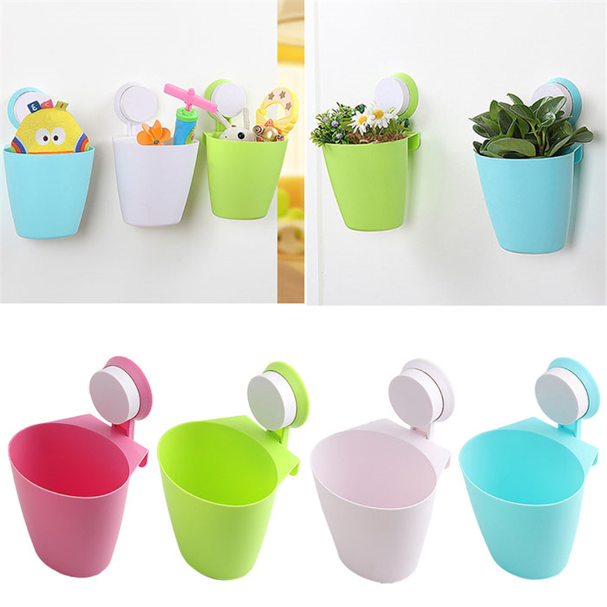 Happy Sale Fashion Suction Cup Mount Hanging Bathroom Kitchen Trash Can Storage Box oct106
