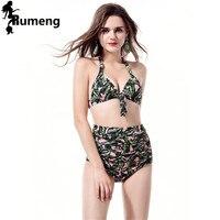 RUMENG Women Swimsuits High Waist Bikini Sets Ruffles 2 Pieces Swimwear For Women Summer Swim Surfing Clothes Bikinis 2018 New