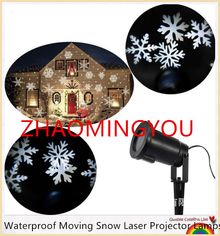 10x Waterproof Moving Snow Laser Projector Lamps Snowflake Led Stage Light For Christmas New Year Party Light Garden Lamp Outdo Clear-Cut Texture