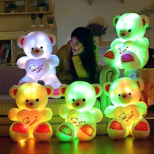 1pc 60cm Creative Light Up Led Teddy Bear Stuffed Animals Plush Toy