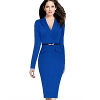 Fashion Long Sleeves Belted Sheath Dress Vestidos Slim Fit Dress Women S Work Office Business Pencil