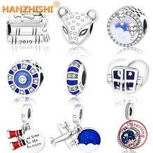 Подходит к оригинальному браслету Pandora, 925 пробы, серебряная крышка для выпускного, книга и свиток, шарм, вращающийся глобус, мозаика, бусины, ювелирные изделия