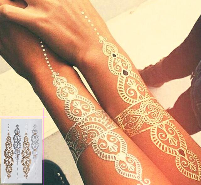 Body art painting tattoo stickers glitter Metal gold silver temporary flash tattoo Disposable indians tattoos tatoo