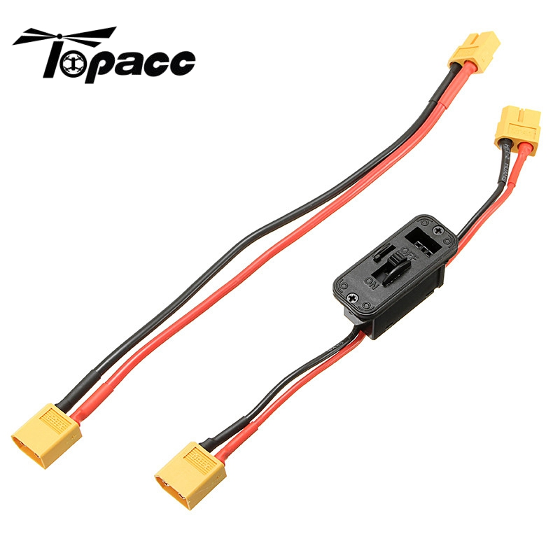 New Arrival Axial XT60 Plug On Off Switch Connector with Extend Wire For RC Lipo Battery For RC Helicopter Toy Models Accessory bqlzr dc12 24v black push button switch with connector wire s ot on off fog led light for toyota old style