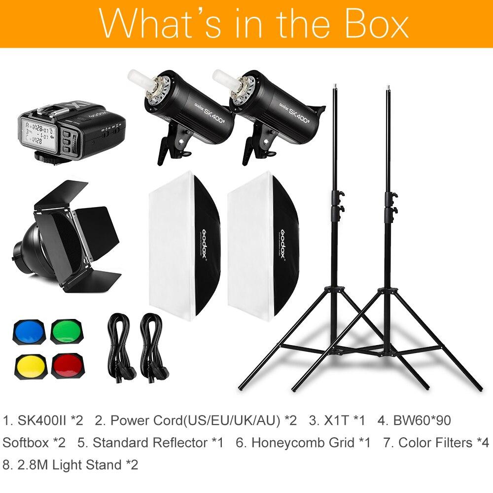 Image 2 - 800Ws Godox SK400 II 2x 400Ws Photo Studio Flash Lighting,Softbox,280cm Light Stand,Barn Door,Flash built in Receiverslight standstudio flash lightgodox sk400 -