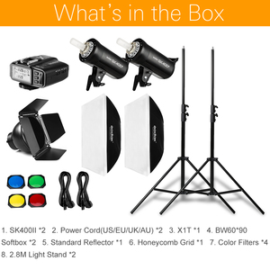Image 2 - 800ws godox sk400 ii 2x400ws photo studio flash iluminação, softbox, suporte de luz de 280cm, porta do celeiro, flash embutido receptores