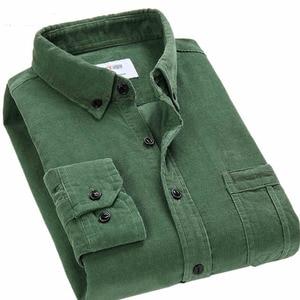 Image 5 - Spring Men Corduroy Shirt 100% Cotton Long Sleeves Bottoming Shirt Slim Wine Red High Quality 4XL
