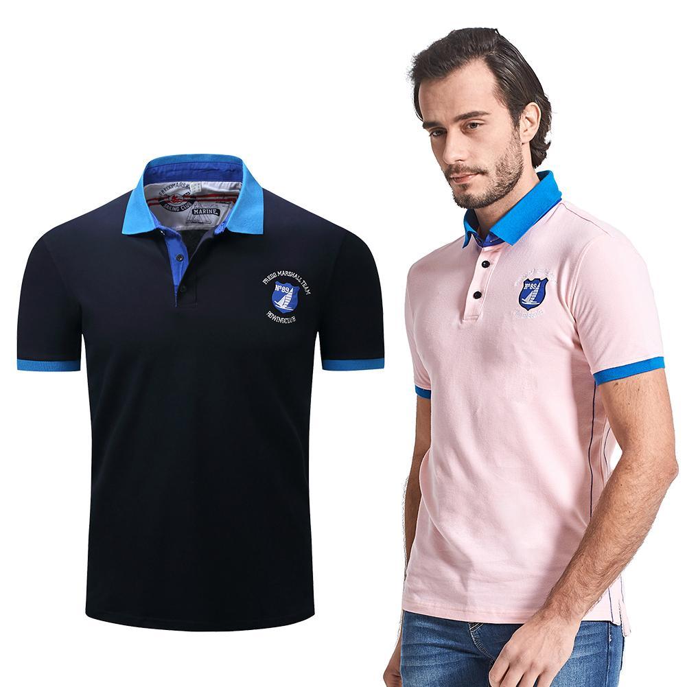 Fashion Men's Slim Fit Short Sleeve Solid  Shirt Turn-down Collar Shirts