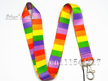 Rainbow cross striation key lanyard lots for Girls Mix order