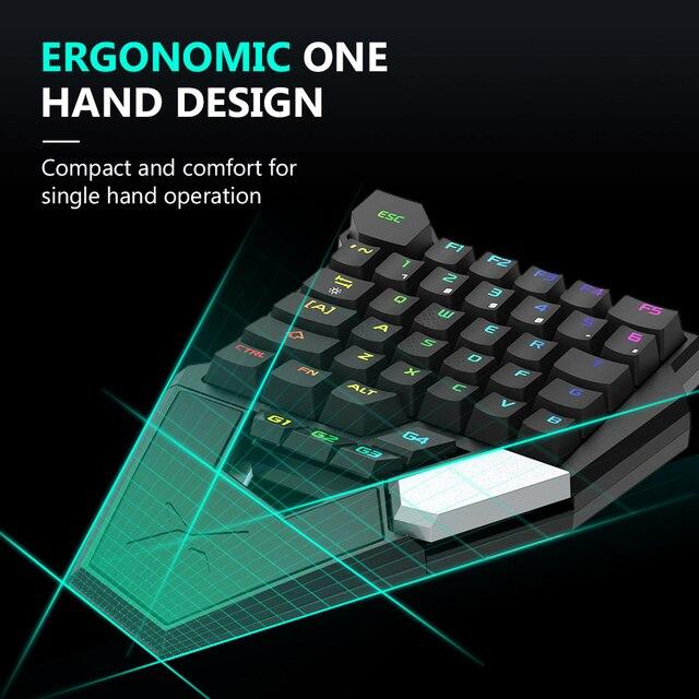 Delux t6 único-handed teclado com fio mecânico dobrável rgb 39 chave totalmente programável para computador portátil gamer