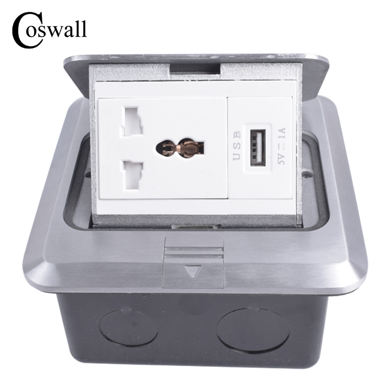 Coswall All Aluminum Silver Panel Universal 3 Hole Pop Up Floor Socket Power Outlet With USB Charging Port 1000mA For Mobile