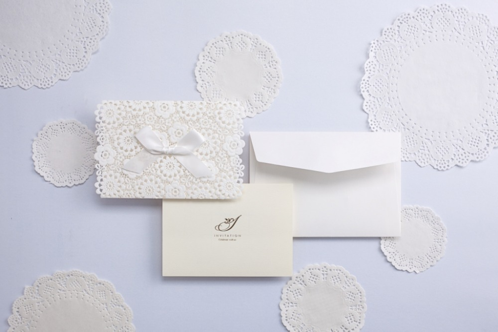 Lace Wedding Invitations Elegant Embossed White Ribbon Butterfly ...